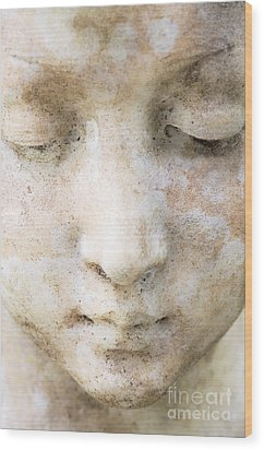 Face Of Stone Wood Print by Neil Overy