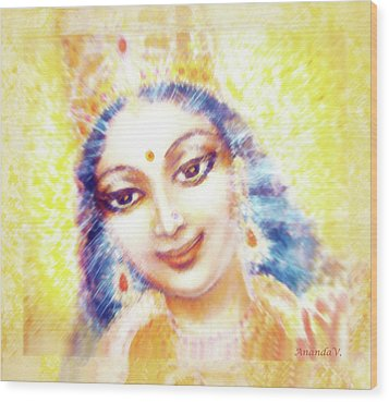 Face Of The Goddess - Lalitha Devi - Light Wood Print by Ananda Vdovic