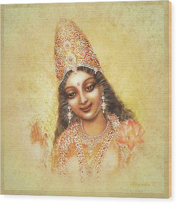 Face Of The Goddess - Lalitha Devi - Without Frame Wood Print by Ananda Vdovic