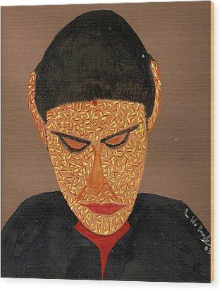Face Wood Print by Umesh U V