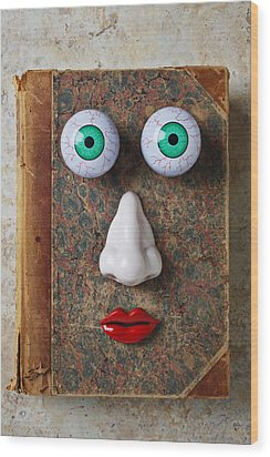Facebook Old Book With Face Wood Print by Garry Gay