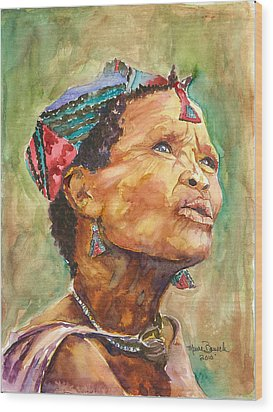 Wood Print featuring the painting Faces Of Africa by P Maure Bausch