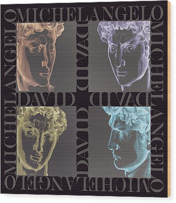 Faces Of David In Negative Wood Print by Barbara Lugge
