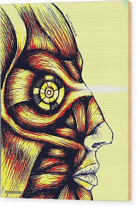 Facial Muscles Wood Print by Paulo Zerbato