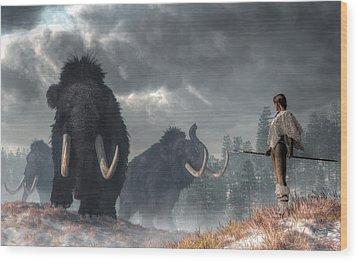 Wood Print featuring the digital art Facing The Mammoths by Daniel Eskridge