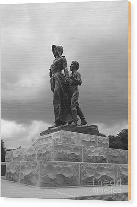 Facing The Storm Pioneer Woman Statue Oklahoma Icon   Wood Print by Ann Powell