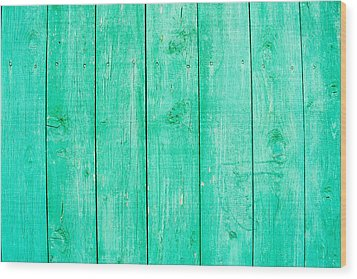 Fading Aqua Paint On Wood Wood Print by John Williams