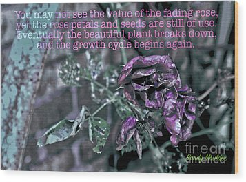 Fading Rose Wood Print by Sandy Moulder