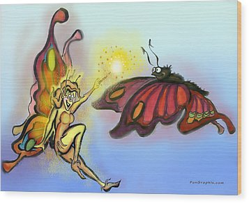 Faerie N Butterfly Wood Print by Kevin Middleton