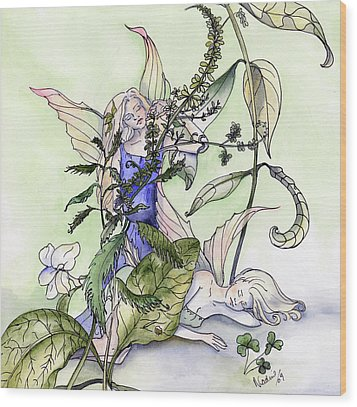 Faeries In The Garden Wood Print