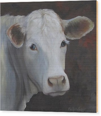 Wood Print featuring the painting Fair Lady Cow Painting by Cheri Wollenberg