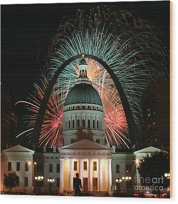 Fair St Louis Fireworks Wood Print by William Shermer