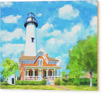 Wood Print featuring the painting Fair Weather On St Simons Island - Georgia Lighthouses by Mark Tisdale