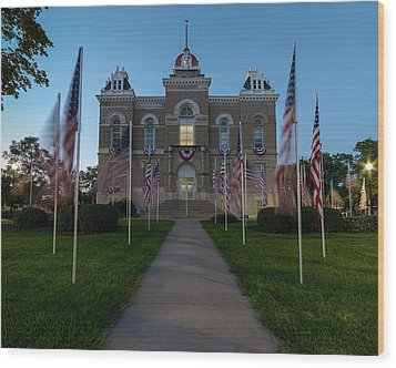 Fairbury Nebraska Avenue Of Flags - September 11 2016 Wood Print