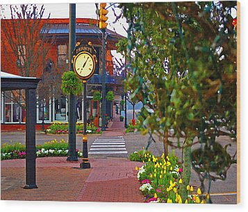Fairhope Ave With Clock Down Section Street Wood Print by Michael Thomas