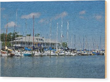 Fairhope Yacht Club Impression Wood Print by Michael Thomas
