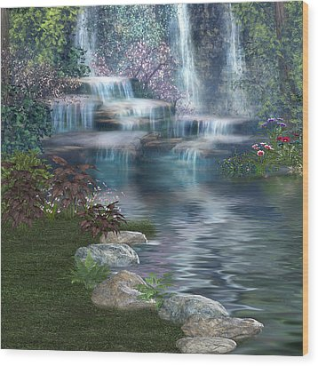Wood Print featuring the digital art Fairies Hidden Lake by Digital Art Cafe