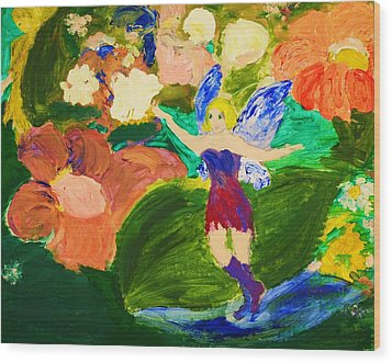 Wood Print featuring the painting Fairies In The Garden by Evelina Popilian
