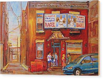 Fairmount Bagel Montreal Street Scene Painting Wood Print by Carole Spandau
