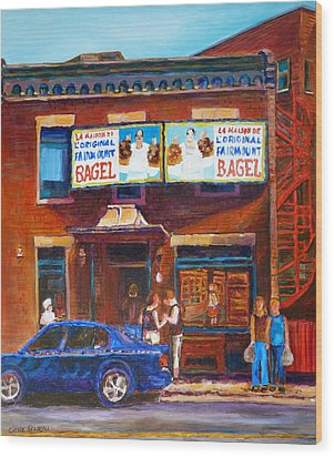 Wood Print featuring the painting Fairmount Bagel With Blue Car  by Carole Spandau