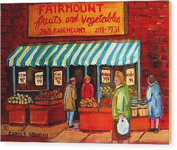 Fairmount Fruit And Vegetables Wood Print by Carole Spandau