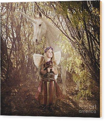 Fairy And Unicorn Wood Print by Cindy Singleton