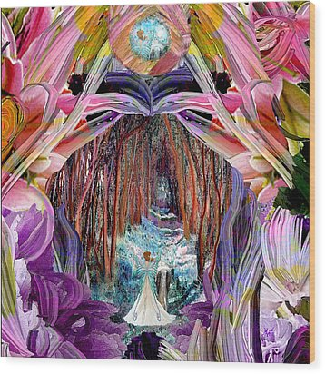 Fairy And Unicorn  Wood Print by Michele Avanti
