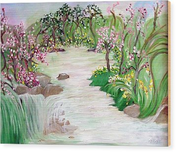 Wood Print featuring the painting Fairy Blossom Falls by Sherri  Of Palm Springs
