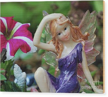 Wood Print featuring the photograph Fairy In Flowerbed by Lila Fisher-Wenzel