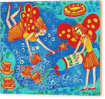 Fairy Liquid Wood Print by Sushila Burgess
