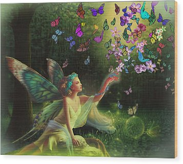 Fairy Of The Butterflies Wood Print by Edelberto Cabrera