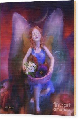 Fairy Of The Garden Wood Print by Joseph J Stevens
