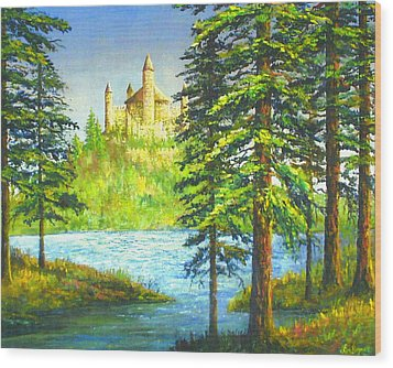 Fairy Tale Castle Wood Print by Lou Ann Bagnall