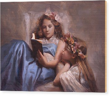 Wood Print featuring the painting Fairytales And Lace - Portrait Of Girls Reading A Book by Karen Whitworth