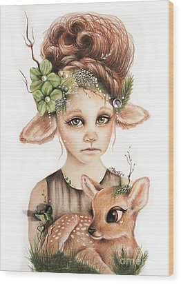 Wood Print featuring the drawing Faline - Only Friend In The World Collection by Sheena Pike