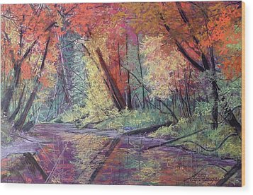 Fall Along The River Wood Print