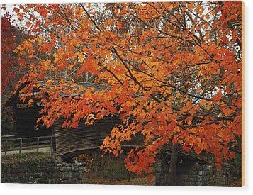 Fall At Humpback Bridge Wood Print by Cathy Shiflett