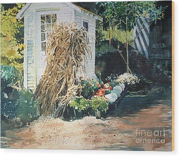 Wood Print featuring the painting Fall At Ivy Corners by Elizabeth Carr