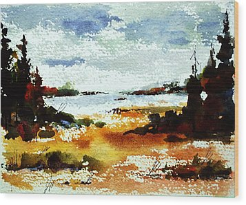 Fall At Kennisis Lake Wood Print by Wilfred McOstrich