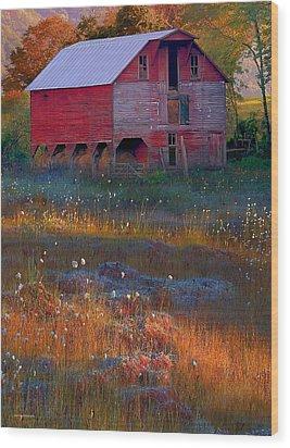 Fall Barn Wood Print by Ron Jones