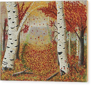 Fall Birch Trees Wood Print by Susan Schmitz
