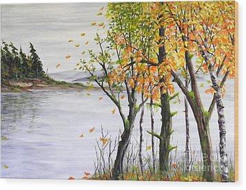 Fall Blows In Wood Print