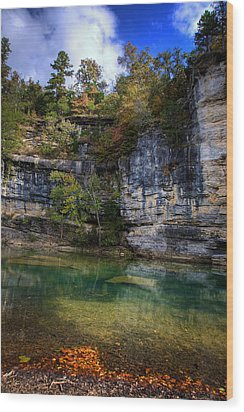 Wood Print featuring the photograph Fall Bluff At Ozark Campground by Michael Dougherty