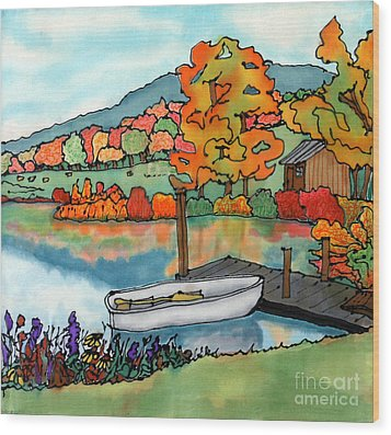 Fall Boat And Dock Wood Print by Linda Marcille