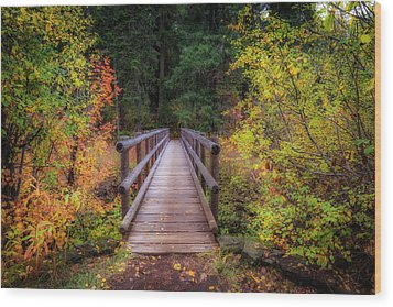 Wood Print featuring the photograph Fall Bridge by Cat Connor