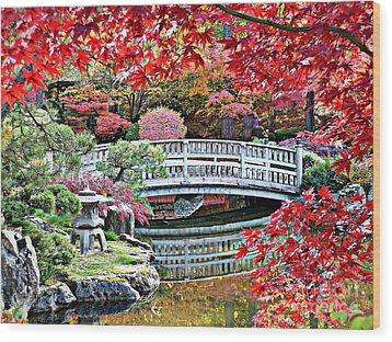 Fall Bridge In Manito Park Wood Print by Carol Groenen