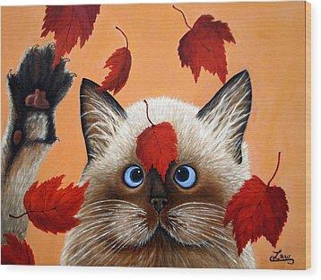 Fall Cat Wood Print by Chris Law