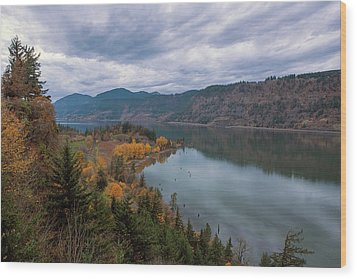 Fall Color At Ruthton Point In Hood River Oregon Wood Print