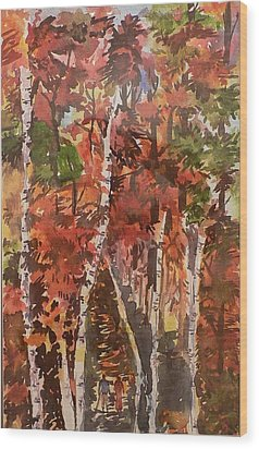 Wood Print featuring the painting Fall Colors by Geeta Biswas