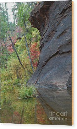 Fall Colors Peek Around Mountain Vertical Wood Print by Heather Kirk